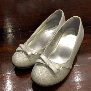 Silver sparkly Mary Janes